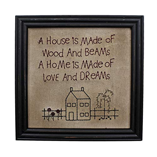 CVHOMEDECO. Primitives Antique A House is Made of Wood and Beams, A Home is Made of Love and Dreams Stitchery Frame Wall Mounted Hanging Decor Art, 12 x 12 Inch (Large Primitive Pictures)