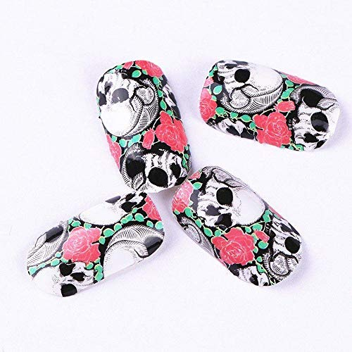 Full Set of 12 Punk Gothic Rockabilly SKULL and ROSES Nail Wrap Decals Sticker Salon Quality Nail Art - Great for Halloween! 1 Sheet -