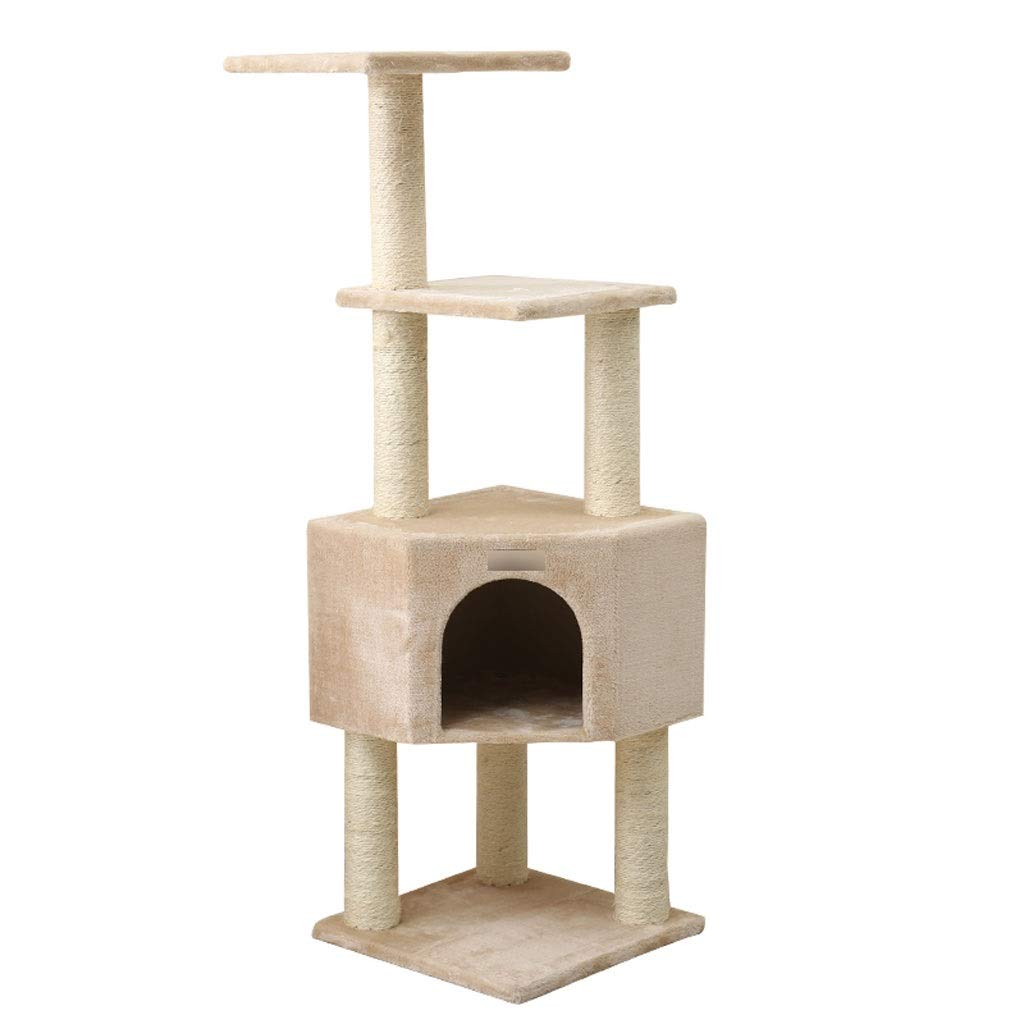 TT Four-Layer Cat Tree,Beige Cat Tower Toy,Sisal Mill Claw Column,Box-Type Cat Nest 40  40  124cm has only 1 Size