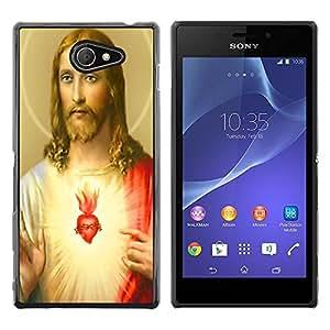 - God Jesus Christ Cross - - Monedero pared Design Premium cuero del tir¨®n magn¨¦tico delgado del caso de la cubierta pata de ca FOR Sony Xperia M2 s50h Aqua Funny House