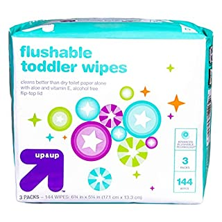 up & up Flushable Toddler Wipes with Vitamin E & Aloe - 3 Packs of 48 Wipes with Flip-Top Lid (144 Total Count) Gentle Pre-Moistened Flushable Wipes – Hypoallergenic and Alcohol Free