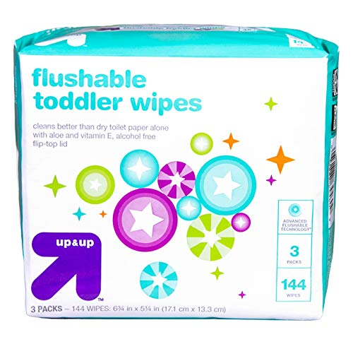 up & up Flushable Toddler Wipes with Vitamin E & Aloe - 3 Packs of 48 Wipes with Flip-Top Lid (144 Total Count) Gentle Pre-Moistened Flushable Wipes - Hypoallergenic and Alcohol Free (Target Brand Wipes)