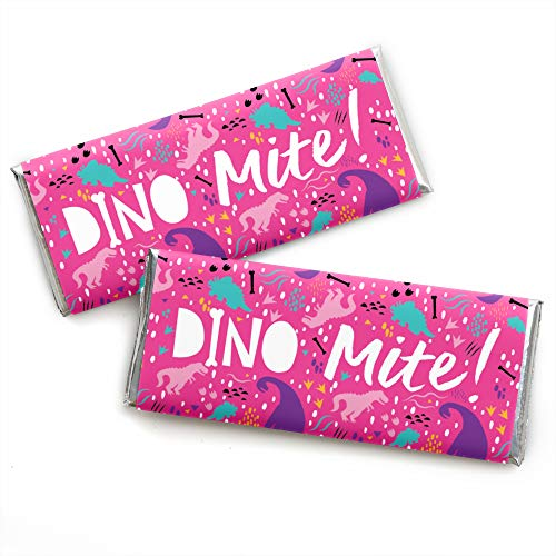 (Roar Dinosaur Girl - Candy Bar Wrapper Dino Mite T-Rex Baby Shower or Birthday Party Favors - Set of 24)