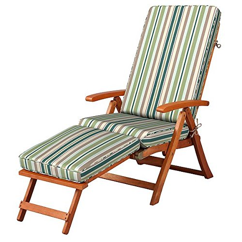 Steamer Deck Chair - Green Beige Vintage Stripe Outdoor All Weather Cushion for Steamer Pool Deck Chair Seasonal Replacement Cushion