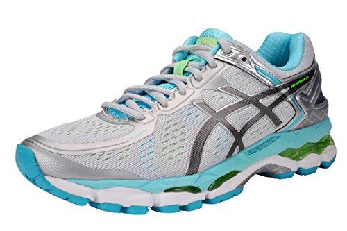 ASICS Women's GEL-Kayano 22 Running Shoe (8.5 B(M) US, Silver/Carbon/Turquois)