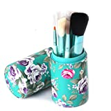 FUA Peony PU Leather Cup Holder Storage Case for Makeup Brushes Tool (Blue)