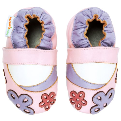 Momo Baby Girls Soft Sole Leather Shoes - Scattered Daisy (6-12 Months) Pink