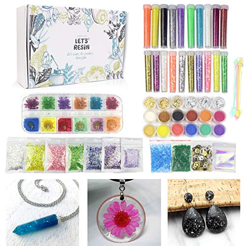 50 PACK Resin Jewelry Making Supplies Kit LET'S RESIN Art Craft Supplies for Resin, Slime, Nail Art, DIY craft, including Glitter,Powder,Mylar Flakes,Dry Flowers, Beads,Wheel Gears,Foil,Glass Stone (Epoxy Wheel)