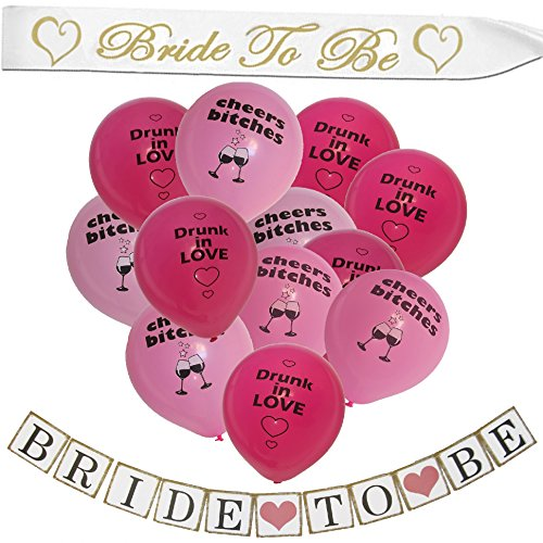 Bachelorette Party Decorations Favors Ideas Set- Complete Supplies For Bridal Shower Gifts Accessories - Including 12 Balloons With Decorative Banner And Quality Satin Sash