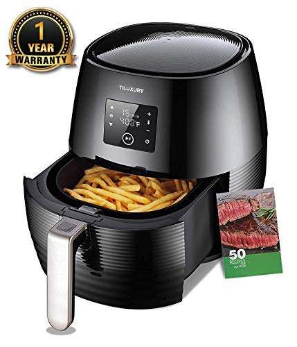 Air Fryer 3.7QT 1400W Electric  Large Deep Fryer Oil-free Touchscreen Healthy Cooker With Detachable Basket Dishwasher Safe Auto Shut Off W/ CookBook