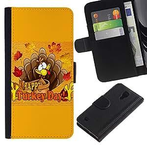 SAMSUNG Galaxy S4 IV / i9500 / SGH-i337 , la tarjeta de Crédito Slots PU Funda de cuero Monedero caso cubierta de piel ( Turkey Day Thanksgiving Autumn Fall)