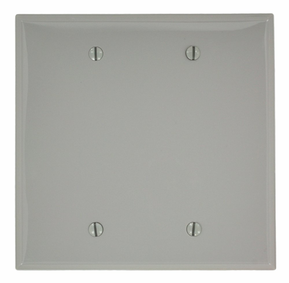 Leviton PJ23-GY 2-Gang No Blank Wallplate, Midway Size, Gray