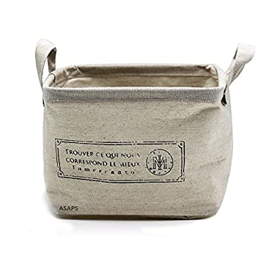 Storage Basket Storage Bin Storage Cube with Handles Small Canvas Fabric Cotton Linen Collapsible,  French S, Small(8.25 x 7.87 x 5.91 inch) -  - living-room-decor, living-room, baskets-storage - 51Ufz1Rlu%2BL. SS400  -