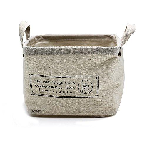 Storage Basket Storage Bin Storage Cube with Handles Small Canvas Fabric Cotton Linen Collapsible,  French S, Small(8.25 x 7.87 x 5.91 inch) (Cute Baskets For Gifts)