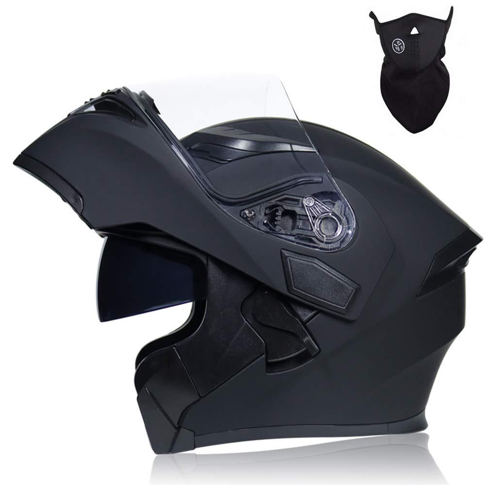 Casco Moto Apribili e Modulare Integrale Adulto Scooter Motorino Caschi Moto per Donna Uomo Doppio Visiera Nero MRDEER/® Casco Motocicletta con Maschera Fodera Rimovibile