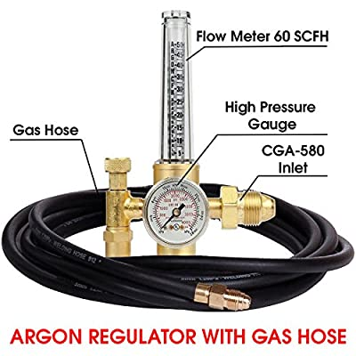 Argon Regulator TIG Welder MIG Welding CO2 Flowmeter Light Duty Flow Meter Cylinder Nitrogen/Argon/Helium Regulator with 10' Hose, 50-38 SCFH Flow Range, 25 psig Outlet
