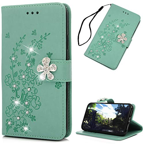 Mavis's Diary iPhone Xr Case, iPhone Xr Wallet Cover, Embossed Plum Flowers Wallet 3D Handmade Bling Crystal Diamond PU Leather Shockproof Protective Cover for iPhone Xr 6.1