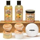 CLARK'S Complete Cutting Board Care Kit | Cutting Board Oil (12oz) - Soap (12oz) - Finish Wax (6oz) - Applicator - Scrub Brush - Finishing Pad | Orange & Lemon Scented