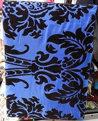 SUPER KING BLUE //BLACK MICROFIBRE FLOCK FULL SET COVER+VALANCE+ PILLOWCASE