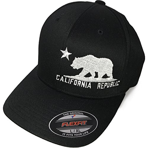 California Flag Curved Bill Baseball Hat Flexfit-Black LG/XL