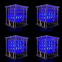 444 LED Cube Light Kit with for Arduino Diffuse Blue Light from OLSUS