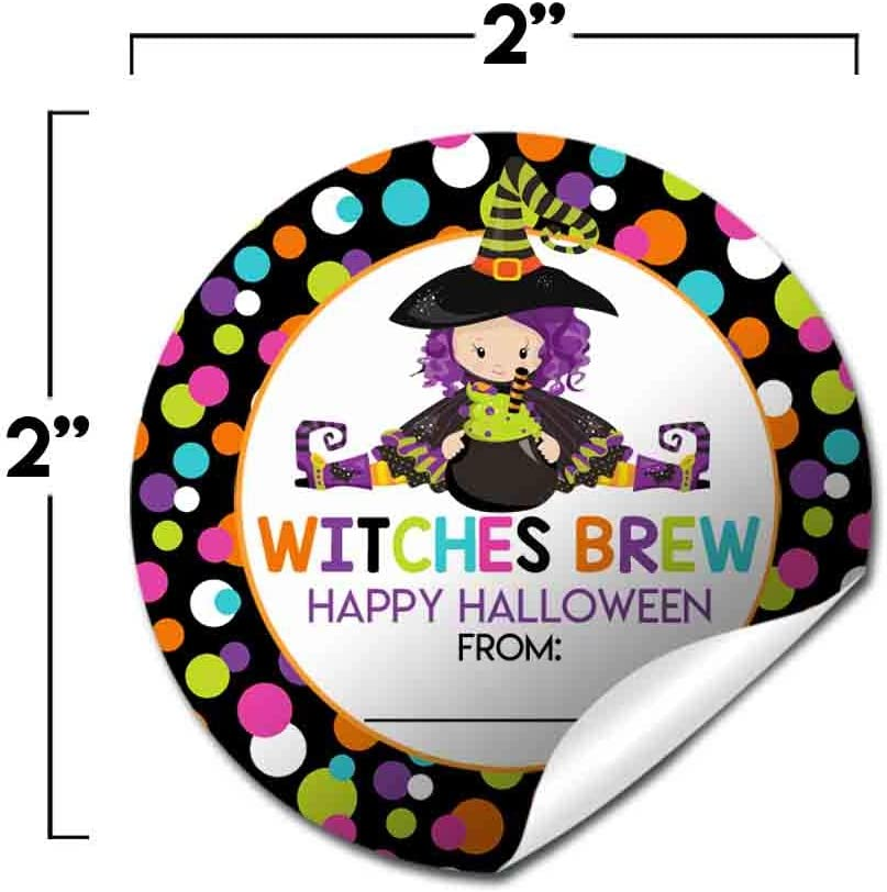 Envelope Seals /& Goodie Bags Great for Party Favors Fancy Witch Halloween Birthday Thank You Sticker Labels for Girls 40 2 Party Circle Stickers by AmandaCreation