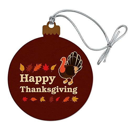 - GRAPHICS & MORE Happy Thanksgiving Turkey Wood Christmas Tree Holiday Ornament