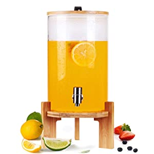 Glass Enzyme Barrel Glass Drink Dispenser Mason Jar Wine Bottle on Wooden Stand with Airtight Bamboo Lid and Stainless Steel Spigot for Wine, Hot/Cold Juice, Beer, Punch, Iced Tea(2 Gallon/8L)