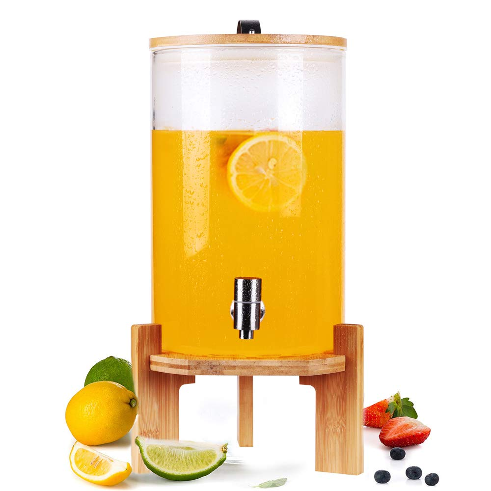 2 Gallon Glass Drink Dispenser on Wooden Stand with Airtight Bamboo Lid and Stainless Steel Spigot, BPA-Free Borosilicate Glass Mason Jar Water Pitcher for Hot/Cold Juice, Beer, Punch, Iced Tea