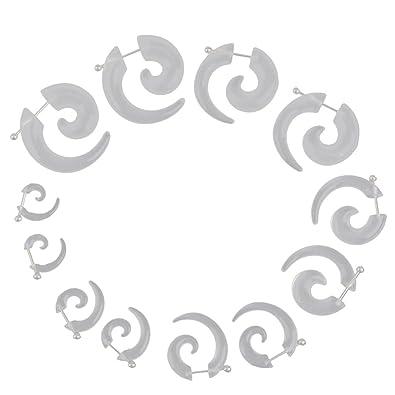 6 Pares Dilatador Expansor Forma Espiral Acrílico Tapones para Oreja Oído (transparente)