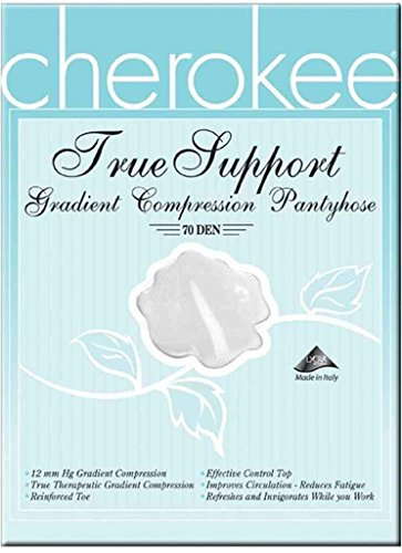 Footwear By Cherokee Women's 12 Mmhg Compression True Support Pantyhose Large White (White Nylon Footwear)