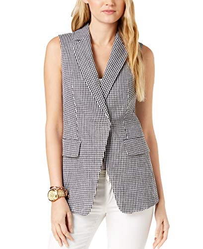 - Michael Kors Womens Gingham-Print Vest, Black/White, 4
