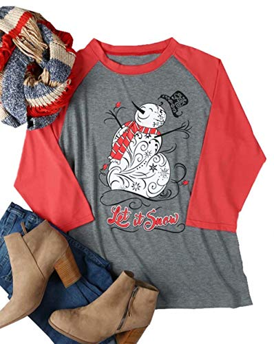 (Let It Snow Christmas Snowman T Shirt Womens 3/4 Sleeve Letter Printed Graphic Baseball Tee Tops Size L (Gray))