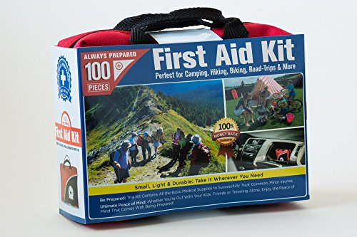 Ultra-Light & Small 100 Piece First Aid Kit w Unique Items Durable Nylon Case - Ideal for the Car Kitchen School Camping Hiking Travel Office Sports Hunting and Home Emergency & Survival
