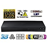SAMSUNG BD-J5900 2D/3D - Wi-Fi - Multi System Region Free Blu Ray Disc DVD Player - PAL/NTSC - USB - 100-240V 50/60Hz for World-Wide Use & 6 Feet HDMI Cable (2015 Curved Design)