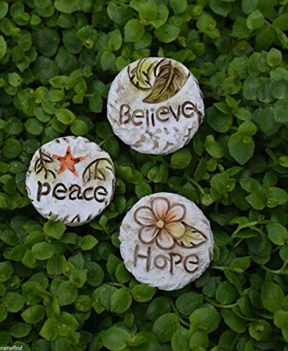 Miniature Dollhouse Fairy Garden ~ Peace Hope Believe 3 Stepping Stone Pavers ()