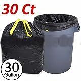 30 Ct Heavy Duty 30 Gallon Commercial Drawstring Trash Bag Garbage Yard (Black)
