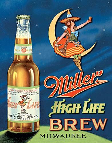 "Desperate Enterprises Miller High Life Brew Tin Sign, 12.5"" W x 16"" H"