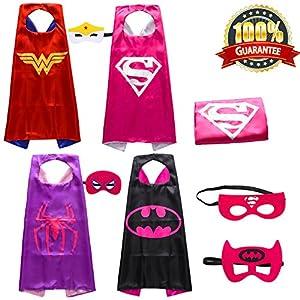Lazu Superhero Costumes Girls Capes and Masks Set of 4 (p10)