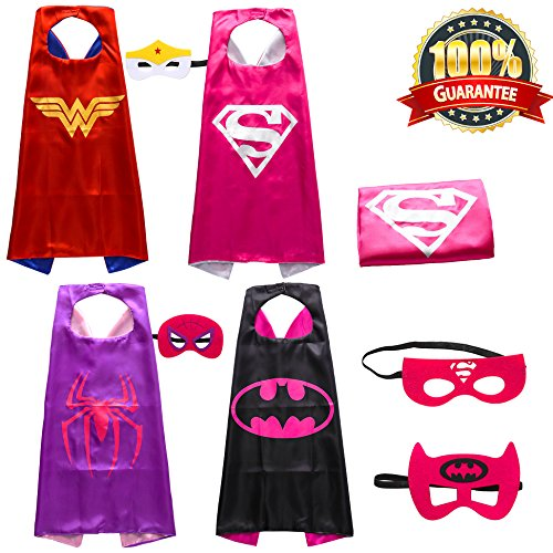 Lazu Superhero Costumes Girls Capes and Masks Set of 4 (p10) ()