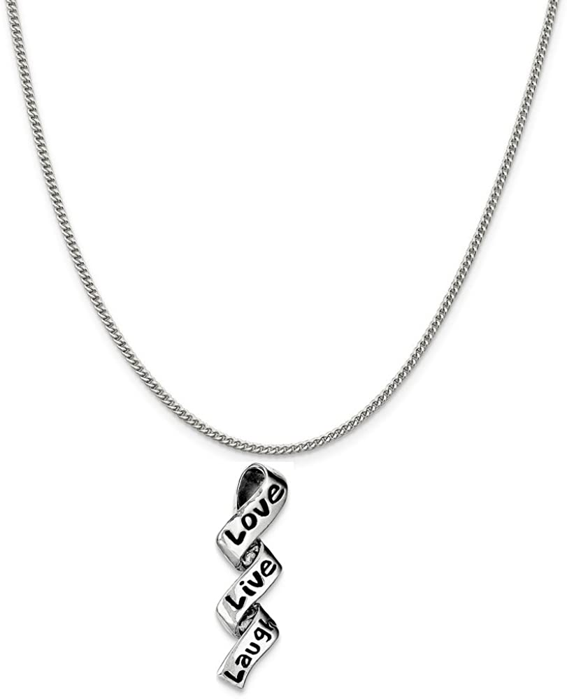 16-20 Laugh Charm on a Sterling Silver Chain Necklace Live Sterling Silver Love