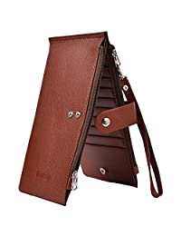 Outrip RFID Womens Leather Bifold Card Case Wallet Thin Zipper Card Wallet Purse(Coffee)