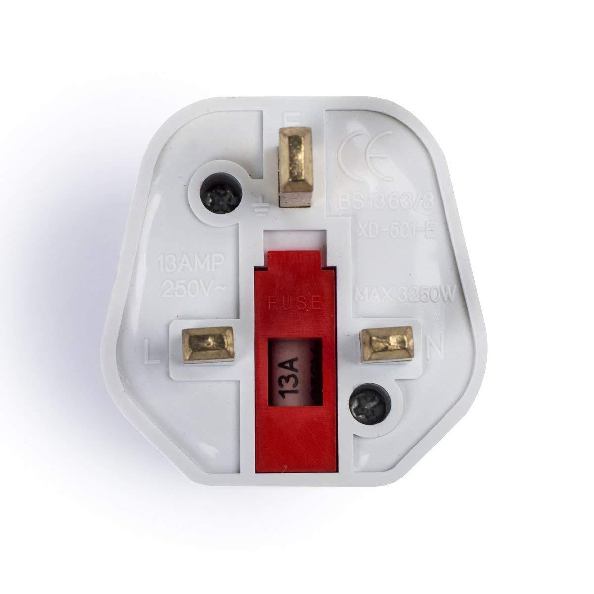Adaptadores de Viaje Compactos para Inglaterra Negro+Blanco Enchufe de Viaje Plug Shuko EU a UK GB Inglaterra 2-Unidades iVoler 2 Patas Europa hacia 3 Patas RU -