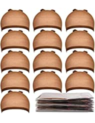 Teenitor 20 Pack Brown Stocking Cap Stretchy Nylon Wig Caps, Skin Tone Stocking Cap Wig Caps Application for Women Men-Brown