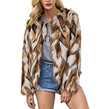 Comeon Womens Winter Warm Colorful Faux Fur Coat Chic Jacket Cardigan Outerwear Tops for Party Club Cocktail