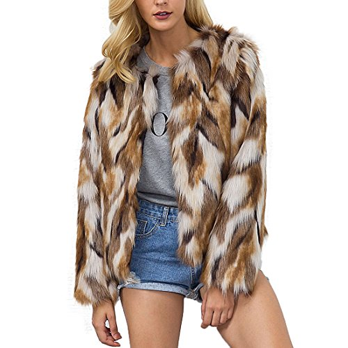 (Womens Winter Warm Colorful Faux Fur Coat Chic Hooded Jacket Cardigan Outerwear Tops for Party Club Cocktail (US 8 (Tag XL)) Brown)