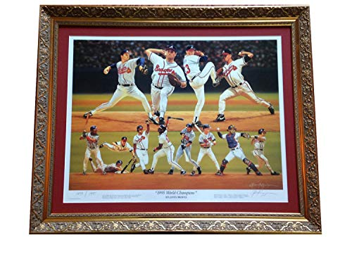 1995 Atlanta Braves World Series Champs Autographed Signed 33X28 Framed Litho Authentic Le /1995