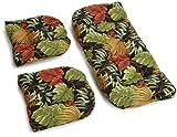 Blazing Needles Indoor/Outdoor Spun Poly All Weather UV Resistant Settee Group Cushions, Tropique Raven, Set of 3