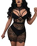 JiherBeauty Women's Sexy Lace Mesh Sheer Floral Embroidery See Through Sleeveless Backless Mini Dress Black S