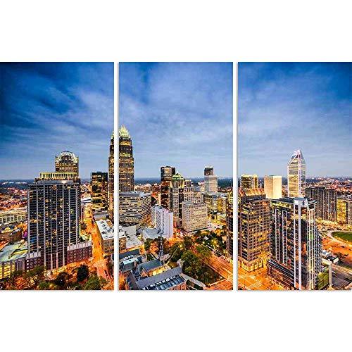 ArtzFolio Charlotte, North Carolina, USA Uptown City Skyline Split Art Painting Panel On Sunboard 42 X 28Inch